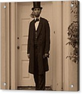 Lincoln Leaving A Building Acrylic Print by Ray Downing