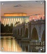 Lincoln Memorial And Arlington Memorial Bridge At Dawn I Acrylic Print