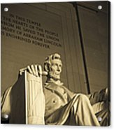 Lincoln Statue In The Lincoln Memorial Acrylic Print