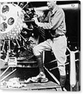 Lindbergh Tunes Up Plane Acrylic Print