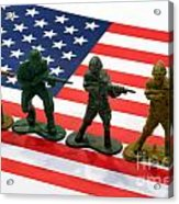 Line Of Toy Soldiers On American Flag Crisp Depth Of Field Acrylic Print by Amy Cicconi