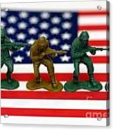 Line Of Toy Soldiers On American Flag Shallow Depth Of Field Acrylic Print by Amy Cicconi