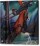 Lineman In Storm Acrylic Print