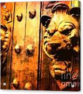 Lion Heads Gothic Door Acrylic Print