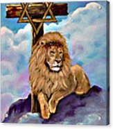 Lion Of Judah At The Cross Acrylic Print
