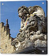 Lion Statue In Bruges Acrylic Print