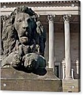 Lion Statue In Front Of St Georges Hall Liverpool Uk Acrylic Print