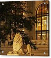Lion Statue In New York City Acrylic Print