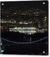 Lions Gate Bridge At Night Acrylic Print