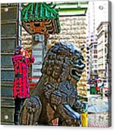 Lions Roar At Entry Gate To  Chinatown In San Francisco-california  Acrylic Print