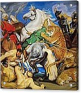 Lions Tigers And Leopard Hunt Homage To Rubens Acrylic Print