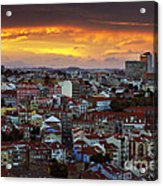 Lisbon At Sunset Acrylic Print by Carlos Caetano
