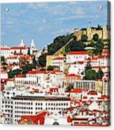 Lisbon Cityscape With Sao Jorge Castle Acrylic Print