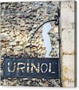 Lisbon, Portugal. Sign For Urinal Acrylic Print