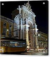 Lisbon - Portugal - Street Cars At Praca Do Comercio Or Terreiro Acrylic Print