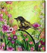 Little Bird In Green Acrylic Print