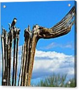 Little Bird On Tall Dead Saguaro Acrylic Print