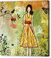 Little Birdie Inspirational Mixed Media Folk Art By Janelle Nichol Acrylic Print by Janelle Nichol