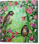 Little Birdies In Green Acrylic Print