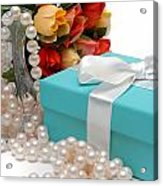 Little Blue Gift Box With Pearls And Flowers Acrylic Print by Amy Cicconi