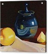 Little Blue Pot And Lemons Still Life Acrylic Print