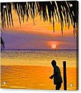 Little Boy Fishing Caye Caulker Belize Acrylic Print