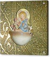 Newborn Boy In The Baptismal Font Sculpture Acrylic Print
