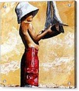 Little Boy In The Beach Acrylic Print