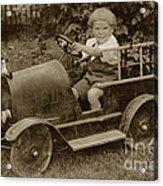 Little Boy In Toy Fire Engine Circa 1920 Acrylic Print