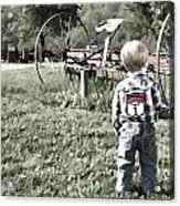 Little Boy On Farm Acrylic Print