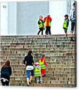 Little Children Climbing Steps Of Lutheran Cathedral Of Helsinki-finland Acrylic Print