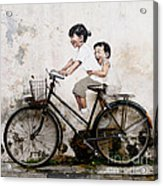 Little Children on a Bicycle Acrylic Print