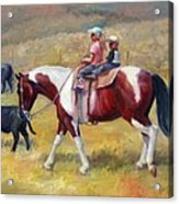 Little Cowboys Of Ruby Valley Western Art Cowboy Painting Acrylic Print