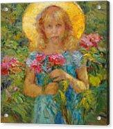 Little Flower Girl Acrylic Print