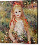 Little Girl Carrying Flowers Acrylic Print by Pierre Auguste Renoir