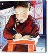 Little Girl From Mongolia Doing Her Homework Acrylic Print