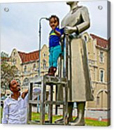 Little Girl Gets Close To Woman Sculpture In Donkin Reserve In Port Elizabeth-south Africa Acrylic Print