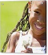 Little Girl Holding Weeds Acrylic Print