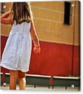 Little Girl In White Dress Acrylic Print