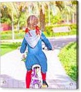 Little Girl On The Bicycle Acrylic Print