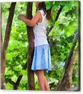 Little Girl Playing In Tree Acrylic Print