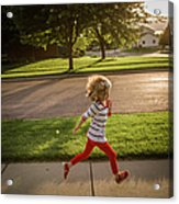 Little Girl Running Acrylic Print