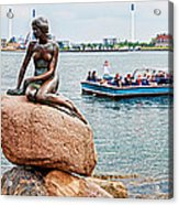 Little Mermaid Statue With Tourboat Acrylic Print