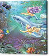 Little Mermaids And Dolphin Acrylic Print