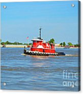 Little Red Boat On The Mighty Mississippi Acrylic Print