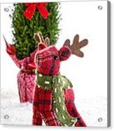 Little Reindeer Christmas Card Acrylic Print