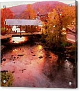 Little River Bridge At Sunset Gatlinburg Acrylic Print