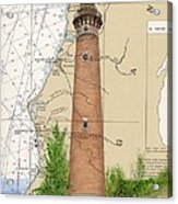 Little Sable Lighthouse Lake Mi Nautical Chart Map Art Cathy Peek Acrylic Print