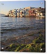 Little Venice At Sunset Mykonos Town Cyclades Greece  Acrylic Print