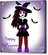Little Witch Halloween Girl Acrylic Print by Eva Thomas
